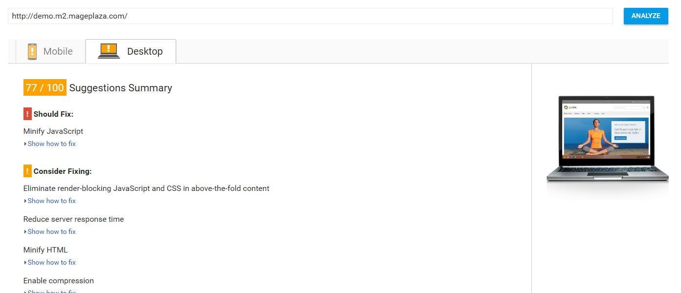 Magento store speed score via Google Page Speed Checker