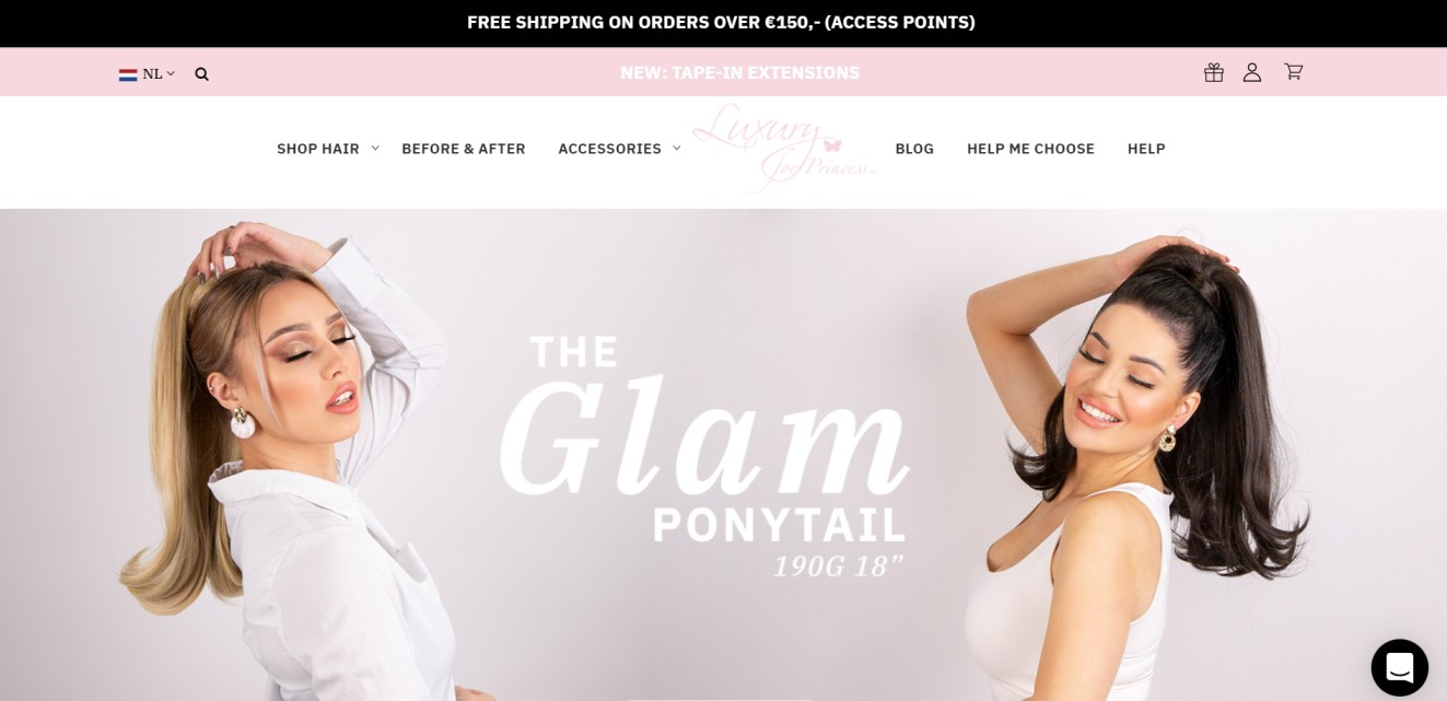 luxury for princess storefront homepage